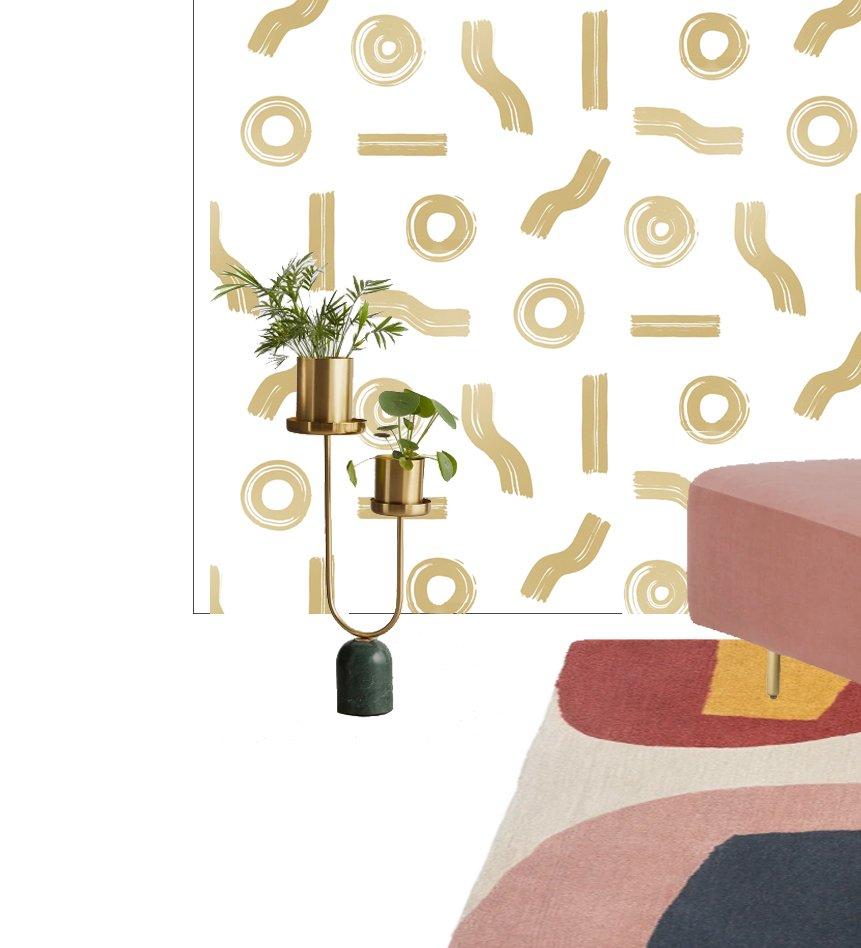 Proyecto de amueblamiento y decoración online de despacho femenino de estilo mid century modern glam